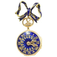 Victorian Revival Watch Theme Blue Enamel and Gold Locket with Bow Brooch