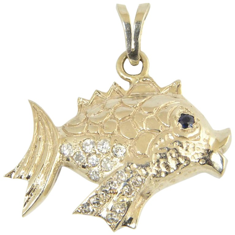 Vintage Diamond, Sapphire and Gold Fish Charm Pendant