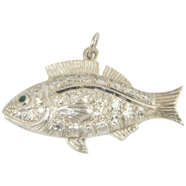 Diamond Fish Charm Pendant