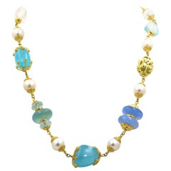 Seaman Schepps Aquamarine Chalcedony Blue Topaz Moon Stone Gold Necklace