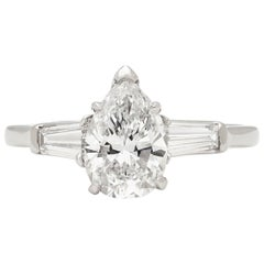 Elegant GIA Report 1.38 Carat Pear Shaped Diamond Platinum Engagement Ring