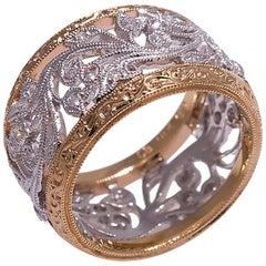 Beverly K Platinum and Rose Gold Diamond Band