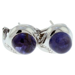 White Gold Iolite and Diamond Earrings