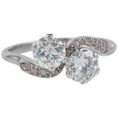 Art Deco 1.45 Carat Diamond You and Me Platinum Ring