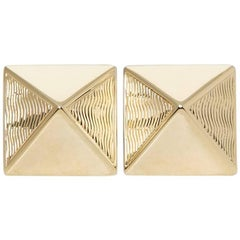 Van Cleef & Arpels 18 Karat Yellow Gold Pyramid Design Stud Earrings