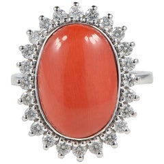 Tres Chic Natural Oxblood Coral Diamond Vintage Ring