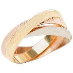 Cartier Yellow White Rose Gold Trinity Ring