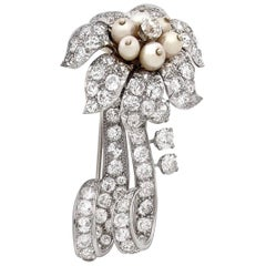 French Retro Diamond Pearl Platinum Brooch