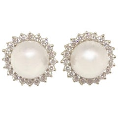 Diamond Halo Mabe Pearl Pierced Earrings