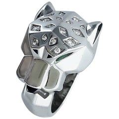 Cartier Panther Diamond Emerald Onyx White Gold Ring
