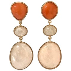 Coral and Morganite Pink Gold Earrings