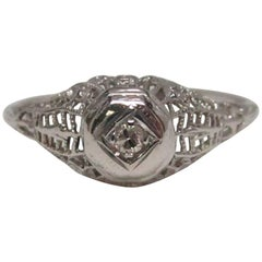 Art Deco Filigree Diamond Gold Engagement Ring