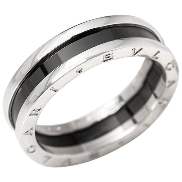 6cd84b4ef2eb2 Bulgari Black Ceramic Silver B.Zero 1 Ring at 1stdibs