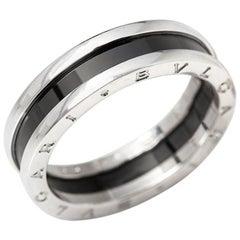 Bulgari Black Ceramic Silver B.Zero 1 Ring