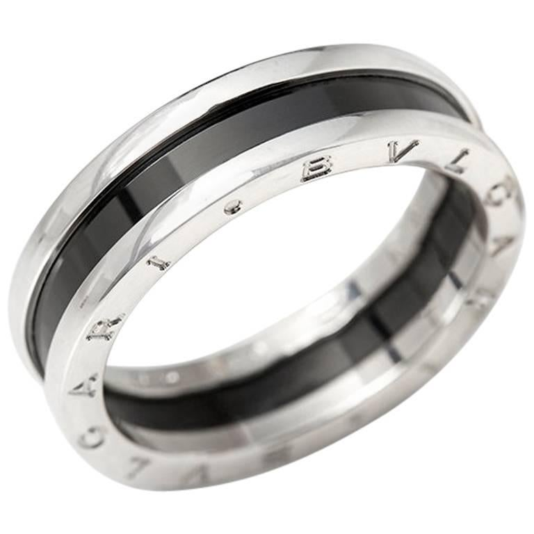 bulgari black ceramic silver bzero 1 ring