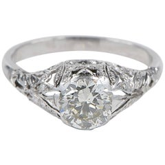 1.30 Carat Old European Solitaire Diamond Edwardian Ring