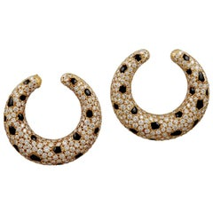 Cartier Diamond and Onyx Panther Earrings