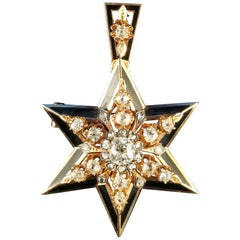 Antique Victorian Diamond Star Pendant Brooch Original Box, circa 1900