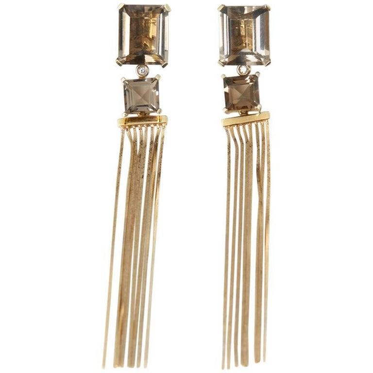 Carla Amorim Smoky Quartz Gold Earrings