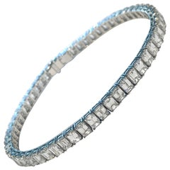 Emerald Cut Diamond Platinum Tennis Bracelet