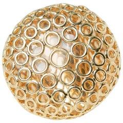 Carla Amorim 18 Karat Yellow Gold Cabochon Clear Crystal Quartz Ring