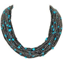 Turquoises Iolites Bakelite Multi-Strand Necklace