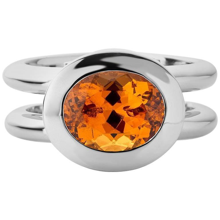 Jochen Leën Mandarin Garnet Diamond Ring For Sale