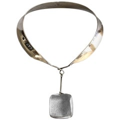 "Georg Jensen Sterling Silver ""Collar"" No. 160 with Rutilated Quartz Drop No.131"