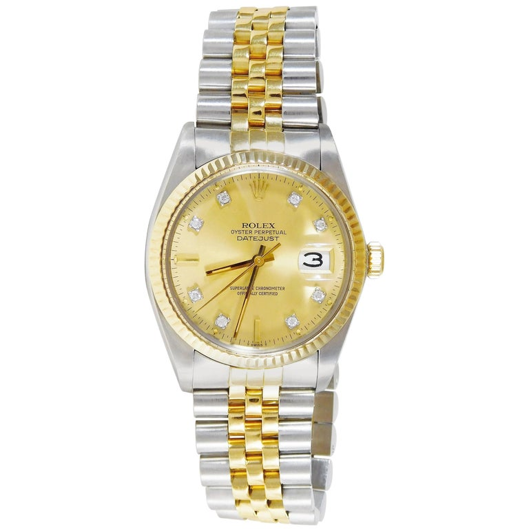 49524d03aae Rolex Yellow Gold Stainless Steel Oyster Perpetual Datejust Automatic  Wristwatch For Sale