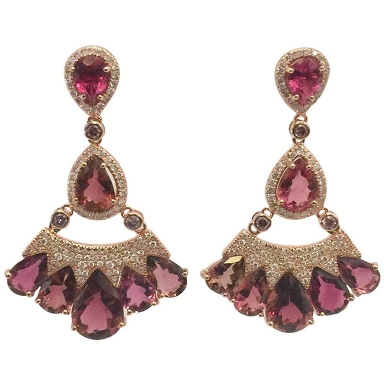 Plum Tourmaline Diamond Earrings