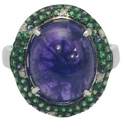 Tanzanite Tsavorite Diamond Ring