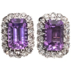 1930s Amethyst and Diamond Clip-Back Earrings