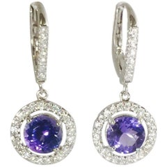 Tanzanite Diamond Drop Earrings