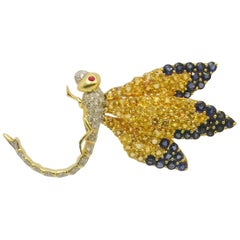 Dragonfly Sapphires and Diamonds Brooch