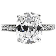GIA Certified 3.15 Cushion Cut Diamond Platinum Pave Engagement Ring