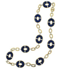 1960 Era Lapis Lazuli Diamond Gold Long Necklace