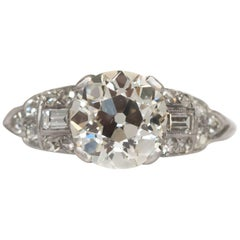 1920 Art Deco .76 Carat Old European Brilliant Diamond Platinum Engagement Ring