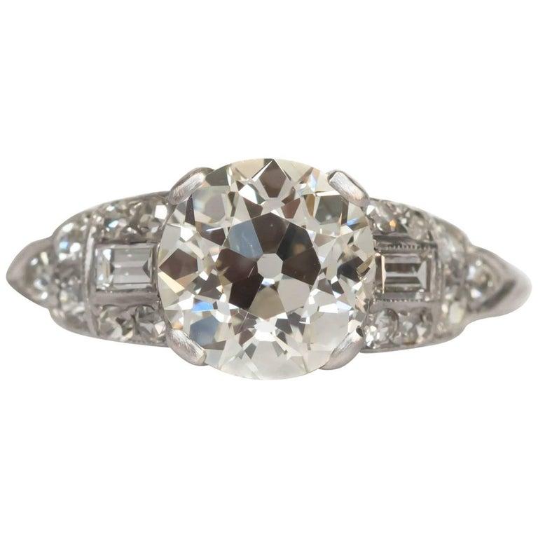1920 deco 1 76 carat european brilliant platinum engagement ring for sale at 1stdibs
