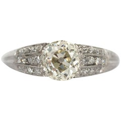 1920s Art Deco Platinum GIA Certified 1.27 Carat Diamond Engagement Ring