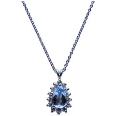 Platinum, Aquamarine and Diamond Pendant by Suberi Brothers