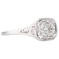 Art Deco 1.02 Carat Old Cut Diamond and Platinum Solitaire Ring