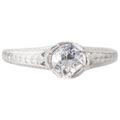 Art Deco GIA Certified Old European Cut Diamond and Platinum Solitaire Ring