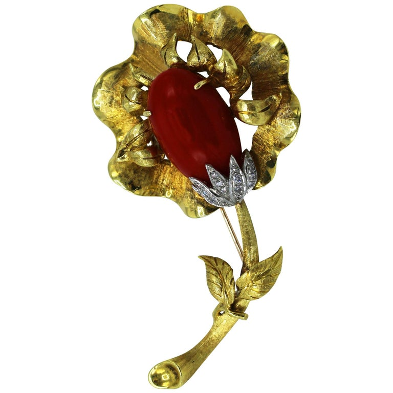 Italian Coral, Diamond and Gold Brooch