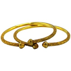Pair of Gold Stacking Cuff Bangles