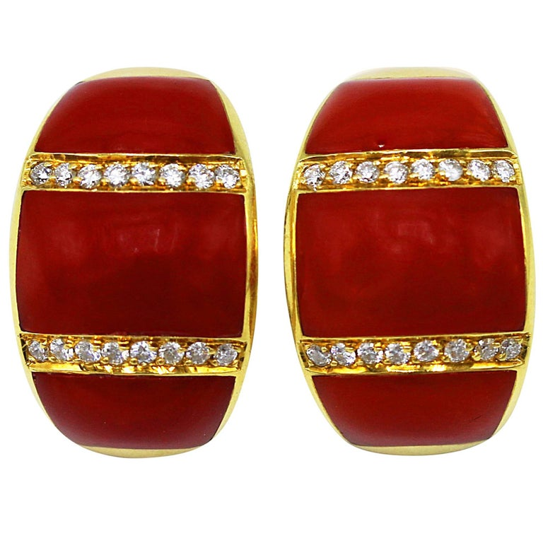 Pair of 1960s Italian Coral and Diamond Earclips