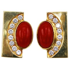 Pair of Coral, Diamond and Gold Earclips