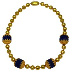 Lapis Lazuli and Yellow Gold Beaded Necklace
