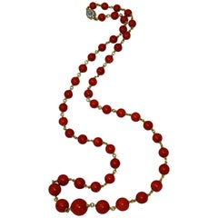 Coral Bead and Diamond Long Chain Necklace
