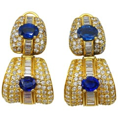 Pair of Sapphire, Diamond and Gold Day and Night Earclips