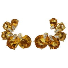 Pair of Wendee & Rene Citrine and Diamond Earclips
